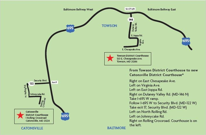 Map and Directions from Towson to Catonsville District Court