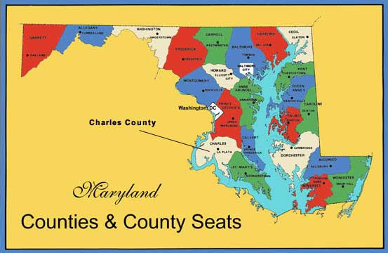 Maryland Map showing location of Charles County.