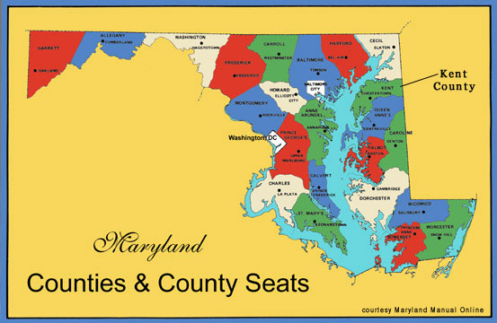 Map Showing Kent County, Maryland