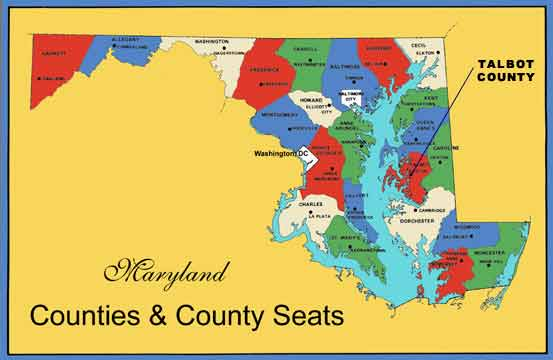 Click for Large Map Showing Talbot County, Maryland