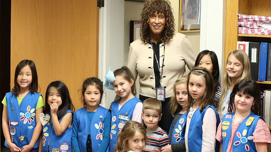 Girl Scouts meet the Judge Brown
